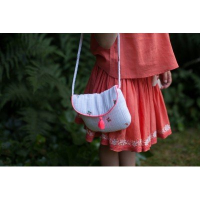 Embroidered bag with pompons Sia fleurettes white