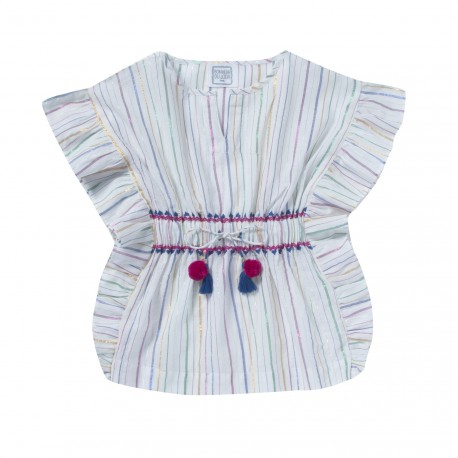 Embroidered blouse with stripes and frills Audrey white