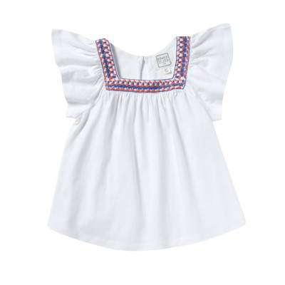 Tee-shirt with macrame neckline Bangor white