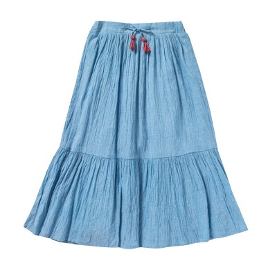 Mid-length skirt with frills and pompons Boheme blue