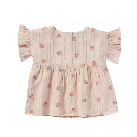 Embroidered dress blouse with frills Elisa pink