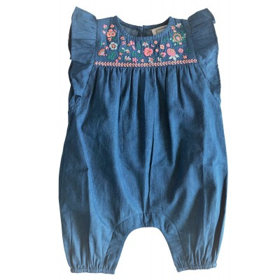 Embroidered overall with flowers Jane indigo denim