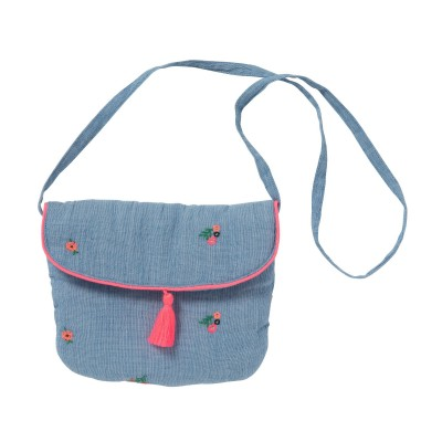 Embroidered bag with pompons Sia fleurettes blue