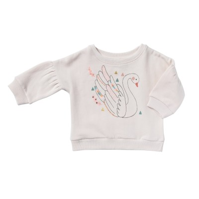 Embroidered and printed sweatshirt Songe light pink