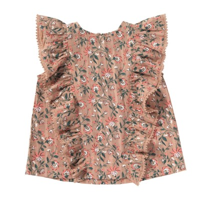 Printed blouse with frills Tess pink coral