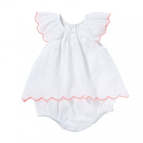 Embroidered bloomer dress with frills Tiny white