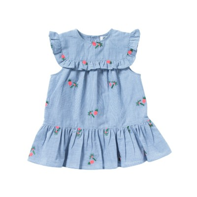 Striped and embroidered dress with frills Victoire dress blue/white