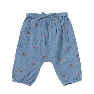 Embroidered pants with flowers Willy fleurette blue