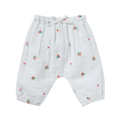 Embroidered pants with flowers Willy fleurette white