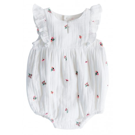 Embroidered overall with flowers Zoe white