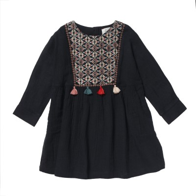 Embroidered dress Margot blue/grey