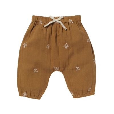 Embroidered sarouel Willy Leaves caramel