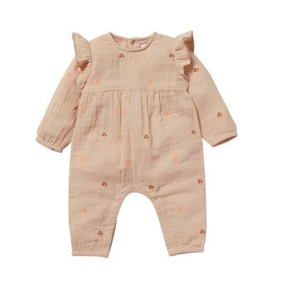Embroidered overall Cèdre pink