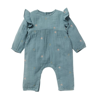 Embroidered overall Cèdre blue