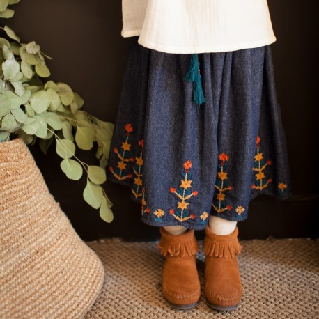 Embroidered denim skirt Dyani denim