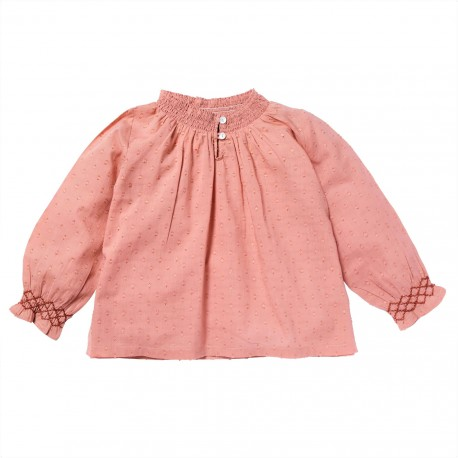 Blouse with smocks Jeanne pink
