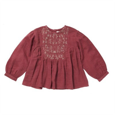 Embroidered blouse Shine cranberry