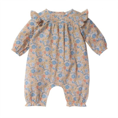 Printed overall with flowers Colombe pink