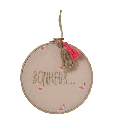 ROUND EMBROIDERY HOOPS HAPPY SWAN OCRE