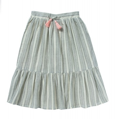 Mid-length skirt with frills and pompons Boheme white