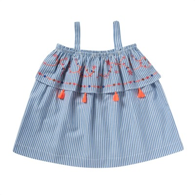 Embroidered dress with frills and pompons Goya blue/white stripes