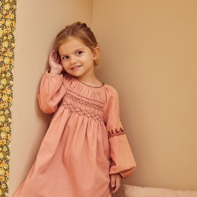 Dress smocked with flowers Maho Bubble Pink