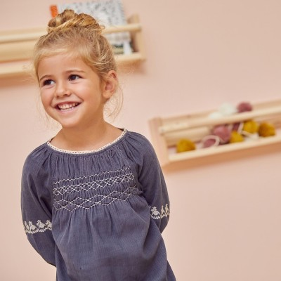 Dress smocked with flowers Maho Grey