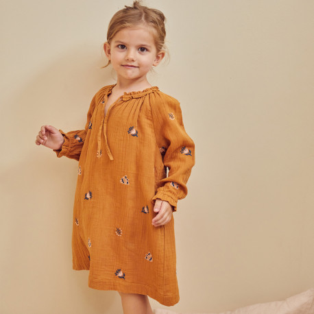 Dress flowers embroidery Noemie Caramel