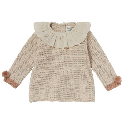 Pullover with ruffle collar in fancy knitting Carla Blush