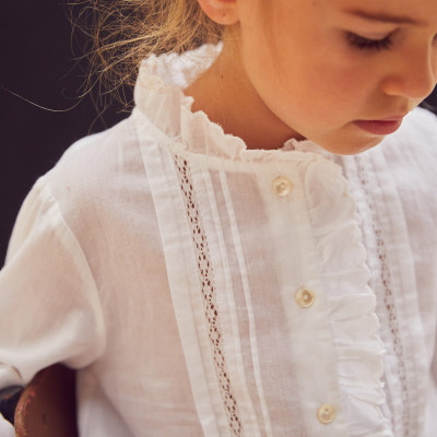 Blouse vintage with delicate pleats and flounces Blanche White