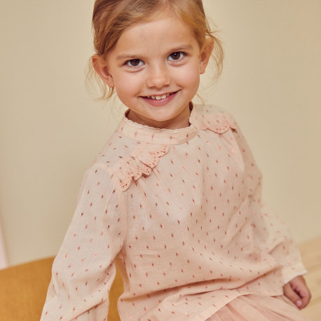 Blouse with embroidery Lou Anne Old Pink
