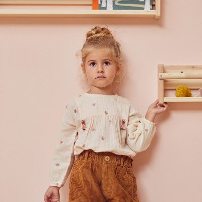 Short corduroy elasticated Noisette Honey