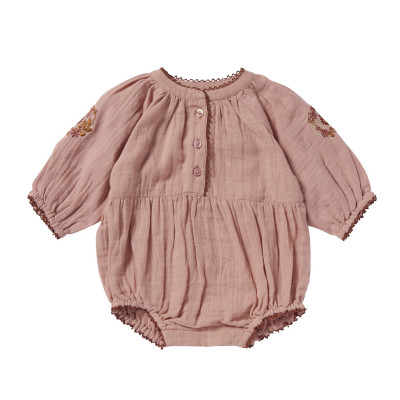 Embroidered overall Bloomy Pink Bubble