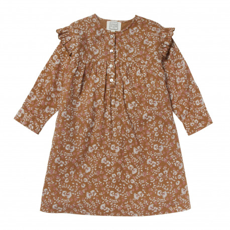 Dress printed flower Romance Caramel