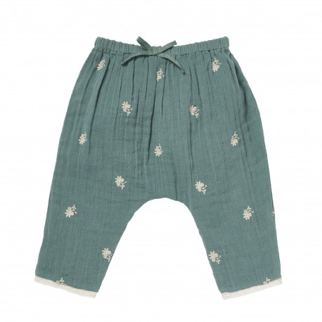 Sarouel trousers double gauze embroidered with flowers